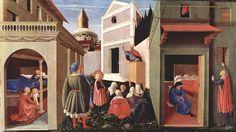 beato angelico, affreschi della cappella di San Nicoló al Vaticano,  ci dimostra che il suo fondo é prevalentemente coloristico e il contorno della forma umana tende a divenire piú sintetico, ma il risultato non é convincente