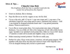 Ideas and tips for Stuart's Spices Chipotle Lime Rub Stir Fry Dishes, Spice Shop, Veggie Fries, Chipotle, Spices, Lime, Ideas, Lima, Thoughts