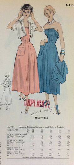 A page from a 1949 August Butterick catalog. #butterick #vintagesewing #1940sfashion