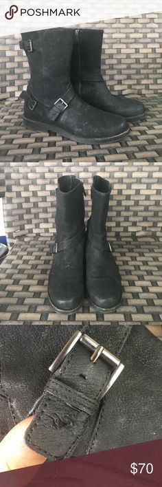 eileen fisher black leather moto boots 9 please see photos of minor damage from a dog. Nothing that affects the wear tons of life left. Zipper pull, small part of sole, and tab near the buckle Eileen Fisher Shoes Combat & Moto Boots