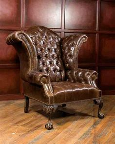 CLASSIC LEATHER WINGBACK CHAIR Lovely - but for me a velvet please, or a couple of miss matched prints. There's that curvy furniture again!
