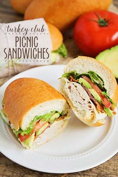 These turkey club picnic sandwiches are the perfect savory lunch for a fun outing! from @bakerupstairs