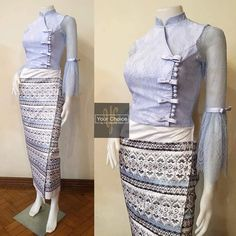 Blouse Styles, Blouse Designs, Traditional Dresses Designs, Myanmar Dress Design, Myanmar Traditional Dress, Fashion Terms, African Print Dresses, Fashion Sewing, Dress Collection