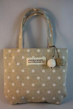 felt ball polka dot mini bag cute cotton fabric bag M size