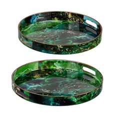 The richly marbled A and B Home Modern Chic Green Trays - Set of 2 features a lush green, blue, and gold palette. To make it easy to serve or.