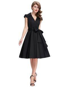 V Dekolette Vintage Kleid in Schwarz