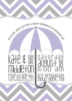 Items similar to Lavender & Grey Baby Sprinkle / Baby Shower / Party Invitation on Etsy Sprinkle Shower, Sprinkle Party, Baby Sprinkle, Shower Party, Baby Shower Parties, Baby Showers, Kate Baby, Party Themes, Party Ideas