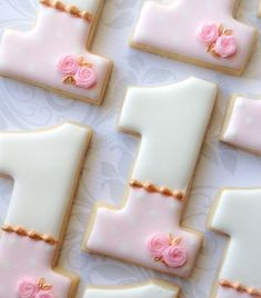 Girls First birthday Number 1 (one) -One Dozen Decorated Sugar Cookies