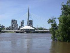Esplanade Riel on Red River, Winnipeg, Manitoba Red River, Opera House, Skyscraper, Multi Story Building, Places, Travel, Skyscrapers, Lugares, Viajes