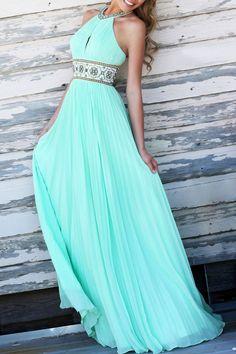 Halter Neck Backless Waist Floral Sleeveless Dress