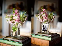 Beautiful vase made only out of a jar, bobby pin, some hot glue, and a nice pic and flowers... definitely on my list of crafts to try!