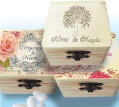 Κουτί γάμου ξύλινο χαραγμένο ή τυπωμένο 1,30€