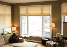 Custom Roman blinds - soft light through neutral linen fabric - Catherine Pulcine - Decorating Den Stittsville - Designer