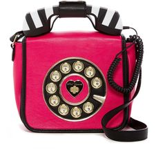 Betsey Johnson Betsey's Hotline Phone Crossbody ($45) ❤ liked on Polyvore featuring bags, handbags, shoulder bags, fushia, purse shoulder bag, betsey johnson handbags, pink cross body purse, shoulder strap handbags and hand bags