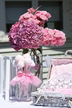 Tutu on a mason jar, white basket lined in pink...I can do that!