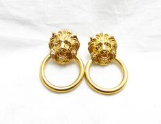 Gold Tone Lions Door knocker earrings post by TreasureTrovebyTish, $8.65