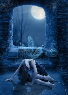 Chained, imprisoned, prisoner. The moonlight fairy has been cot in a castle where she is most likely to die, until a Shepherd boy happens to come to the castle and hear her cry. He frees her, and asks if she do anything in return. He said there wasn't when there was.