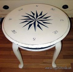 hand drawn painted compass rose tutorial chalk paint, chalk paint, painted furniture, repurposing upcycling, Finished table from inspiration to completion