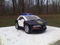 Police Cop Car Toy Black White Doors Open Wheels Turn 2001 Mattel