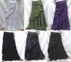 Wrap Tier Long Cotton Skirt Gypsy Boho