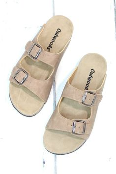 21b187982cbf Classic Bork Slide On Sandals Leather Look  Taupe