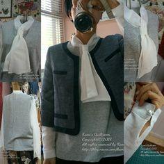 니트믹스 리본 블라우스.. 작년에 만든 샤넬재킷과 함께... 내옷은 내가 만들어 입는다..ㅋ