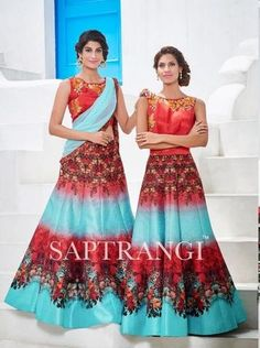 Turquoise Blue And Scarlet Red Buy Lehengas For Women ,Indian Dresses - 1