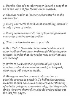 Kurt Vonnegut - eight tips on how to write a good short story...