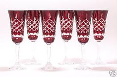 Image detail for -Champagne Flutes Ruby Red Crystal Glasses Diamond Cut | eBay