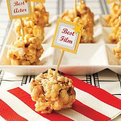Cute and tasty Sweet and Salty Popcorn Balls from My Recipes, perfect for Oscar night. Check out my list of nominees and their trailers and get watching!