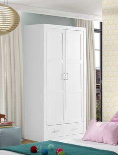 Armario de dos puertas. Interior fabricado en madera maciza alistonada de pino. Exterior fabricado en MDF Color lacado blanco. Se trata de un KIT de muy fácil montaje y con instrucciones claras. Alto 200 cms Ancho 105 cms Profundo 55 cms
