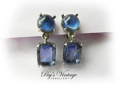 Vintage Blue Glass//Crystal Dangle Clip On by PegsVintageJewellery