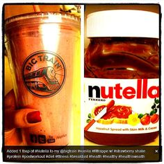 Strawberry Power Nutella #FitFrappe Shake Recipe From @Marianthefoodie Marian Bacol-Uba: