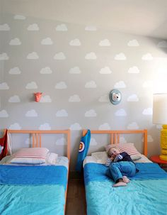 We can't imagine a cooler use for our new line of stencils than this cloud kid's room by Mer Mag. Thanks for the inspiration, Merrilee!