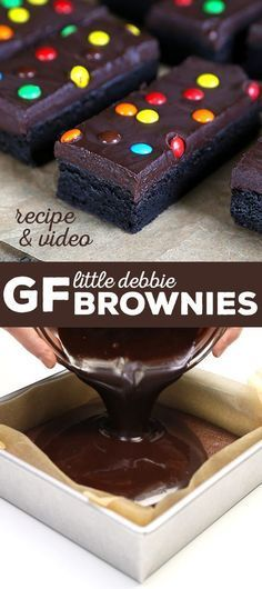 """These Little Debbie gluten free brownies are just as fudgy as you remember. Made with regular pantry ingredients, you'll want to make them immediately! Gluten Free """"Little Debbie"""" Brownies Gluten Free Deserts, Gluten Free Sweets, Foods With Gluten, Gluten Free Cookies, Dairy Free Recipes, Chocolate Gluten Free Desserts, Dairy Free Ganache, Dairy Free Gluten Free Desserts, Gluten Free Bakery"""