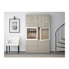 BESTÅ Storage combination w/glass doors - walnut effect light gray/Selsviken high gloss/beige clear glass - IKEA