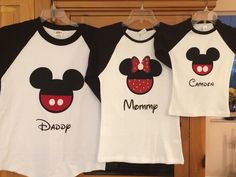 Mickey Mouse or Minnie Mouse Disney Inspired Raglan Shirt Personalized Custom by MouseHouseShirts on Etsy https://www.etsy.com/listing/261128569/mickey-mouse-or-minnie-mouse-disney