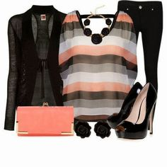 Lining Shirt With  Stylish Upper Black High Heels And Matching Clutch