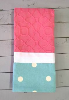 Caught Ya Lookin'- Pink and Teal Dot Hand Towel