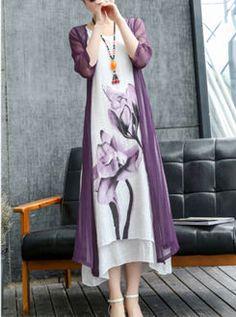 Asymmetric Hem Color Block Printed Two-Piece Maxi Dress