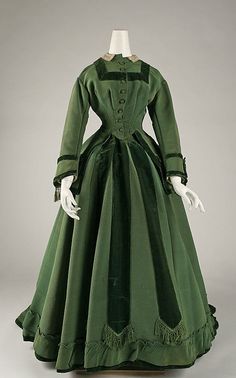 Robe 1868, américain, fait de la soie