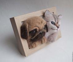 Купить Панно щенок и котенок - комбинированный, щенок из шерсти, котенок из шерсти, Кошки, собаки