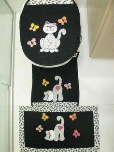 jogo de banheiro 3 pçs Cat Applique, Applique Patterns, Applique Designs, Quilting Designs, Sewing Patterns, Cat Crafts, Diy Home Crafts, Sewing Crafts, Sewing Projects