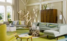 """Amy Lau, of Amy Lau Design: """"A bright citron green paired with a pale pearl gray and white."""""""