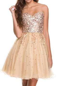Sequin Celebration Party Dress in Gold