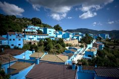 Village Juzcar, in Spain painted blue for Smurf movie premiere