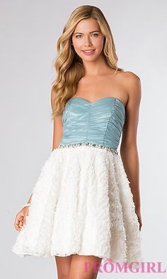 Short Strapless Sweetheart Dress at PromGirl.com || Love this dress! And so inexpensive!