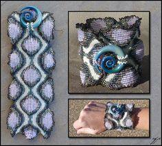 """(2011), 9\""""x 4\"""", Size 15 seed beads (gilt-lined blush opal, transparent light blue iris, matte blue metallic iris), size 11 seed beads, (matte bone white, matte slate iris, transparent light blue ..."""