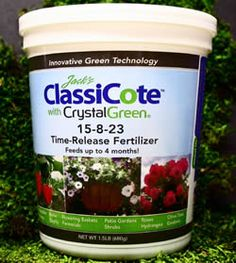 Jack's ClassiCote™ with Crystal Green® time-release fertilizer feeds your plants in a sustainable, earth-friendly way utilizing a renewable, slowly available source of phosphorus and magnesium.  Jack's Classicote with Crystal Green is now formulated using Crystal Green,  a highly pure, crystalline compound with innovative green technology.  Releases nutrients gradually for up to 4 months of vigorous growth.  Blended with an enhanced micronutrient package.