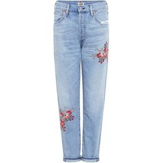 Citizens Of Humanity - Liya Emborderied High Rise Jeans (2.445 NOK) ❤ liked on Polyvore featuring jeans, pants, bottoms, faded jeans, destroyed jeans, blue high waisted jeans, blue jeans and faded blue jeans